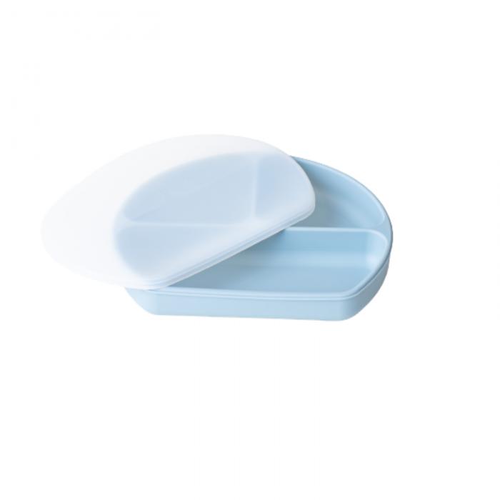 Farfurie din silicon cu 3 compartimente pentru masa copilului - Light Blue