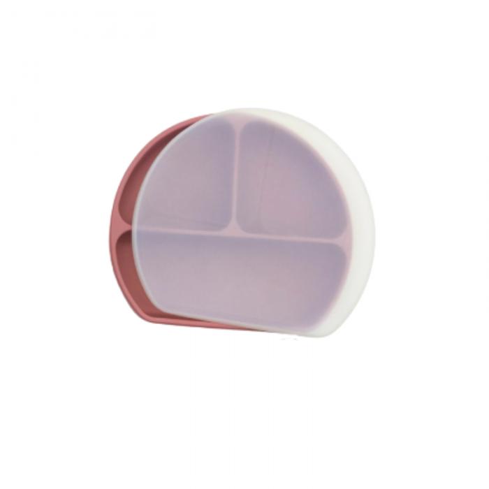 Farfurie din silicon cu 3 compartimente pentru masa copilului - Dusty Rose
