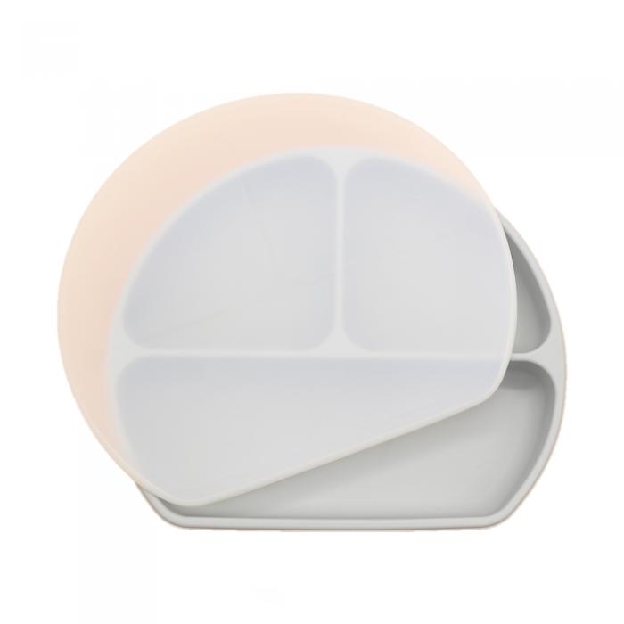 Farfurie din silicon cu 3 compartimente pentru masa copilului - Grey