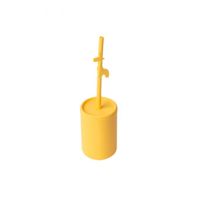 Pahar din silicon cu capac si pai - Galben