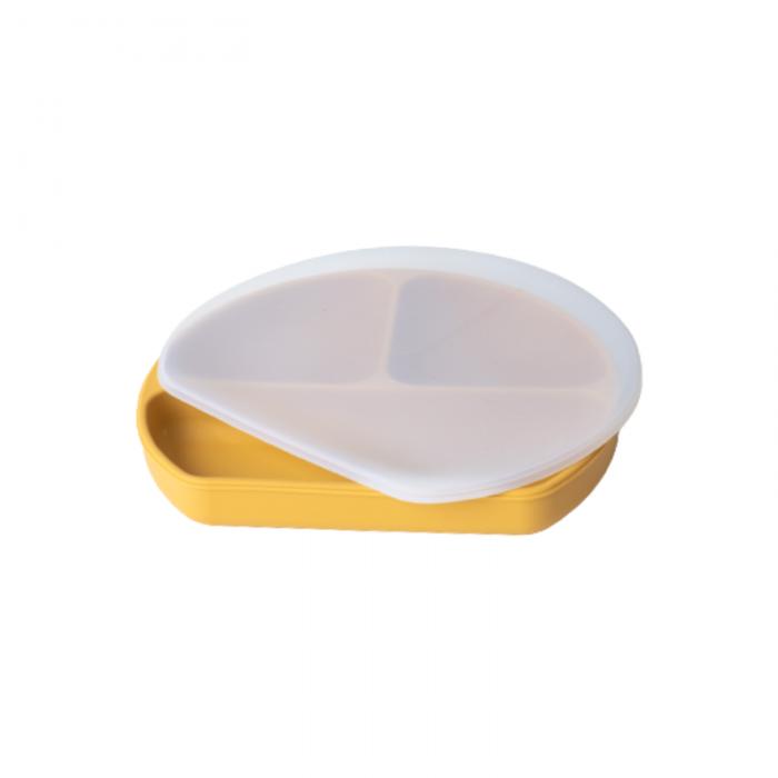 Farfurie din silicon cu 3 compartimente pentru masa copilului - Ochre