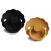 Set 2 suzete cu tetina rotunda din silicon - Daisy Jet Black / Daisy Honey Gold - FRIGG