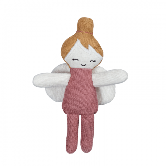 Papusa textila din bumbac organic - 12 cm - Zana roz - Fabelab