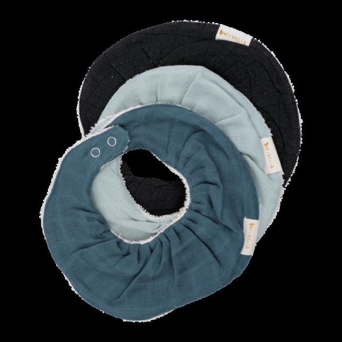 Baveta circulara din bumbac organic - Set 3 bucati - Albastru - Fabelab