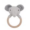 Jucarie zornaitoare cu inel din lemn - elefantel - JaBaDaBaDo