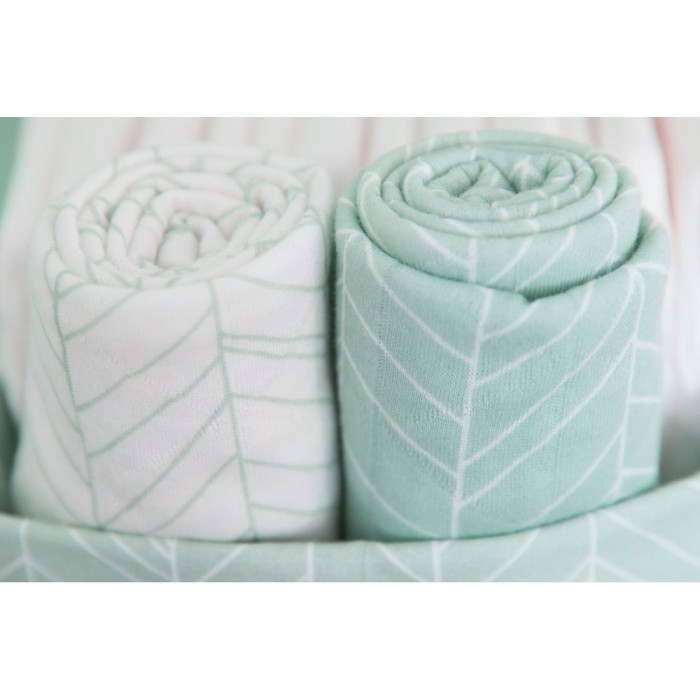 Muselina din bumbac - 120 x 120 cm - Mint Leaves - Little Dutch