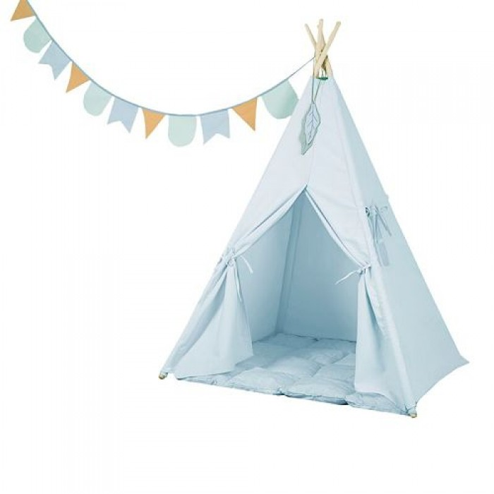 Cort Teepee Wigwam - albastru - Little Dutch