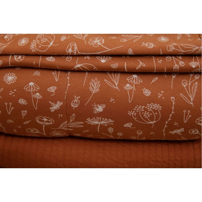 Sac de dormit cu maneci detasabile - Wild Flowers Rust - Little Dutch