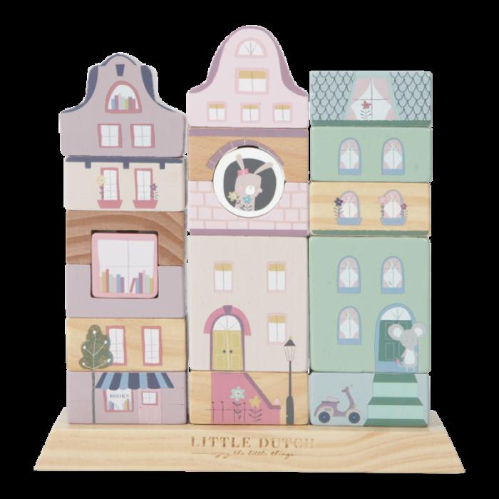 Jucarie din lemn pentru stivuire - cladiri - roz - Little Dutch
