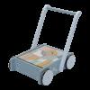 Antemergator/Premergator din lemn cu spatiu de depozitare si blocuri din lemn - Ocean Blue - Little Dutch