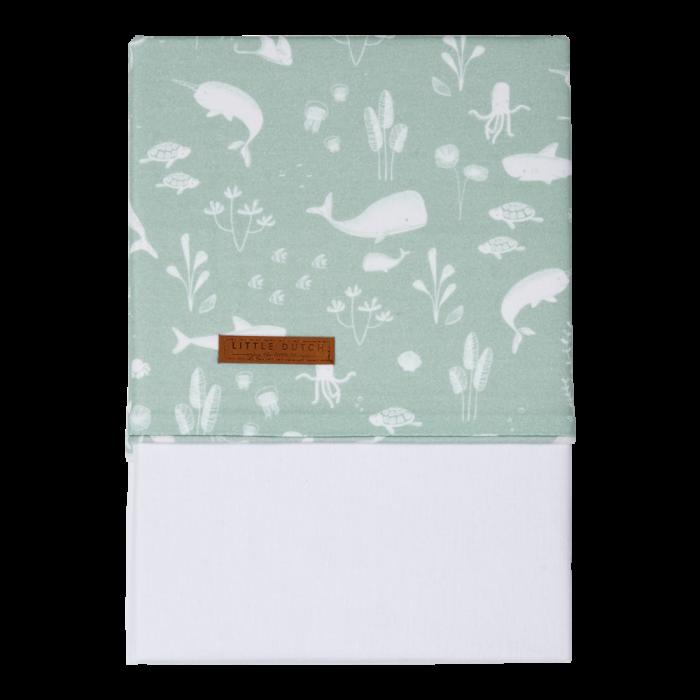 Cearsaf din bumbac - 110 x 140 cm - Ocean Mint - Little Dutch