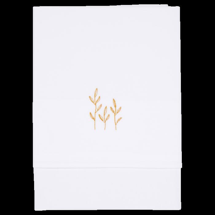 Cearsaf alb din bumbac cu broderie - Wild Flowers Ochre - 110 x 140 cm - Little Dutch