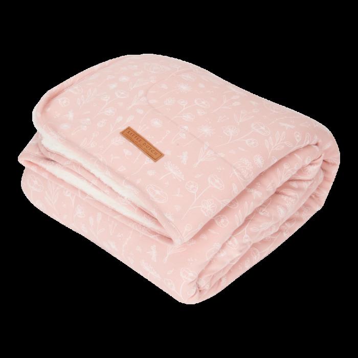 Patura pentru copii din bumbac dublata cu plus - Pure & Soft - Wild Flowers Pink - Little Dutch