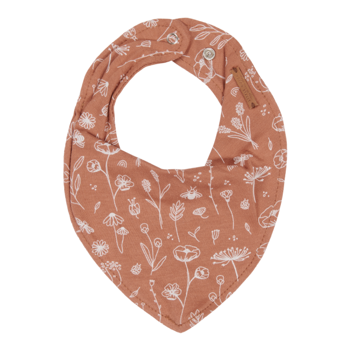 Baveta bandana dublata - Wild Flowers Rust - Little Dutch