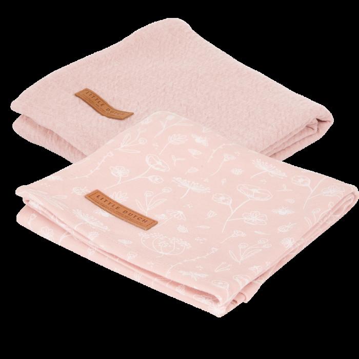 Muselina din bumbac - set 2 bucati - Wild Flowers Pink/Pure Pink - Little Dutch