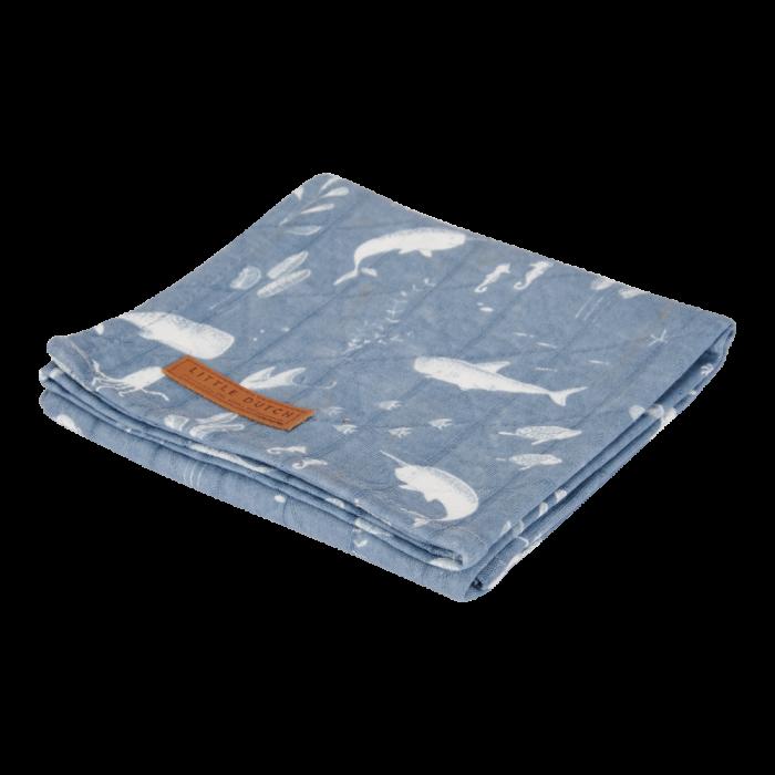 Muselina din bumbac - set 2 bucati - Ocean Blue/Pure Blue - Little Dutch