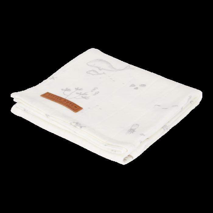 Muselina din bumbac - 120 x 120 cm - Ocean White - Little Dutch