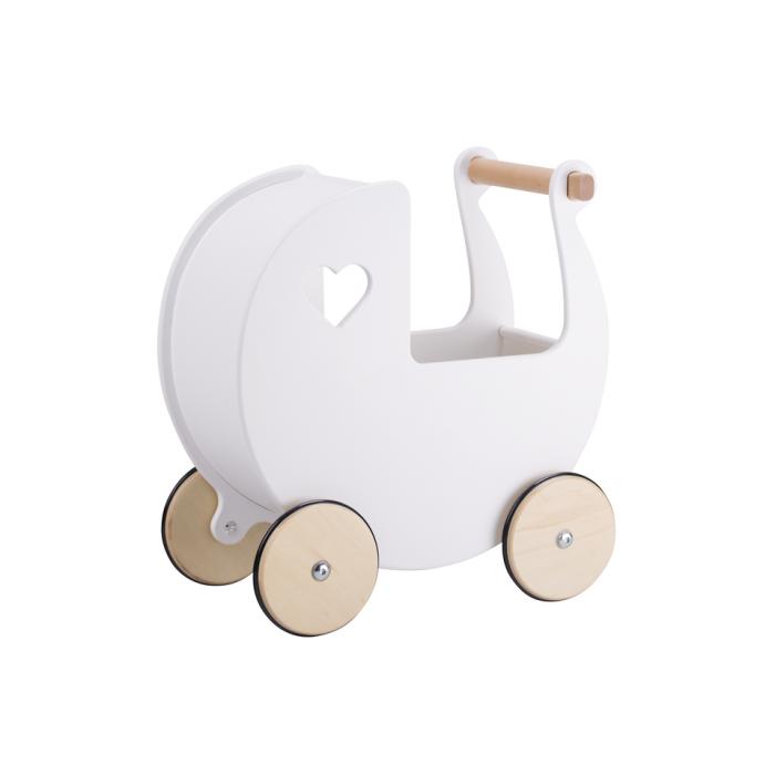 Carucior din lemn pentru papusi - alb - Moover Toys