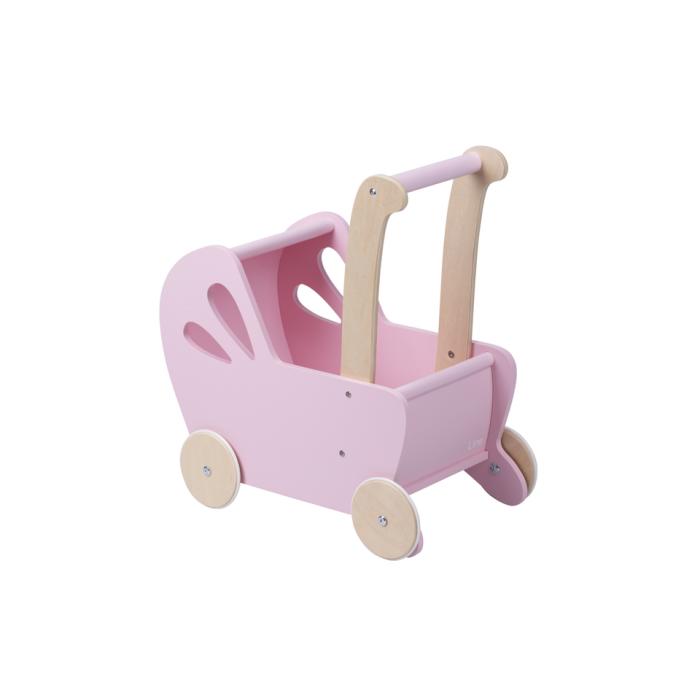 Carucior din lemn pentru papusi - roz - gama LINE - Moover Toys