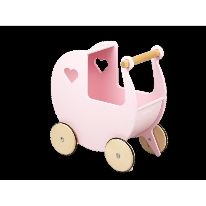 Carucior din lemn pentru papusi - roz - Moover Toys