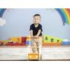 Carucior din lemn cu depozitare - autobuz galben - gama LINE - Moover Toys