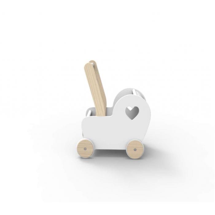 Carucior din lemn pentru papusi - alb - gama ESSENTIALS - Moover Toys