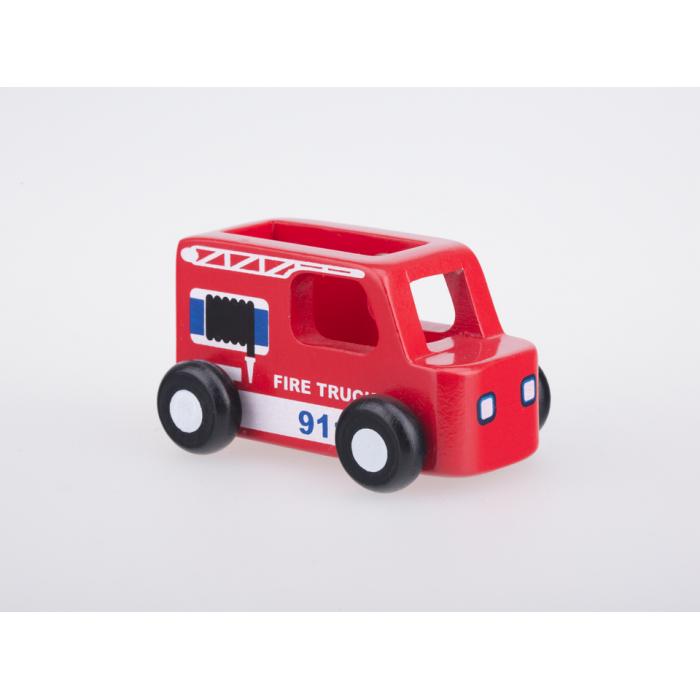 Masinuta din lemn - masina de pompieri - Moover Toys