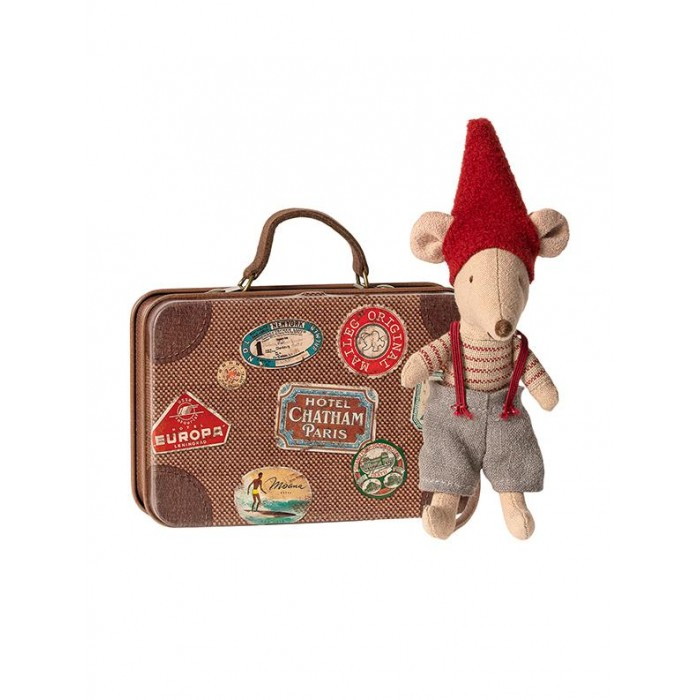 Jucarie textila - CHRISTMAS MOUSE IN SUITCASE - LITTLE BROTHER - Maileg
