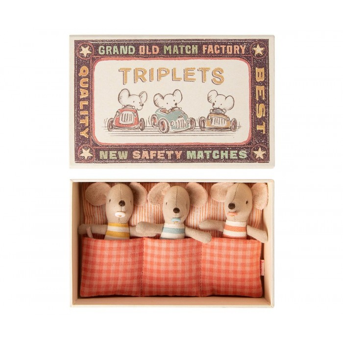 Jucarie textila - TRIPLETS IN MATCHBOX - BABY MICE - Maileg