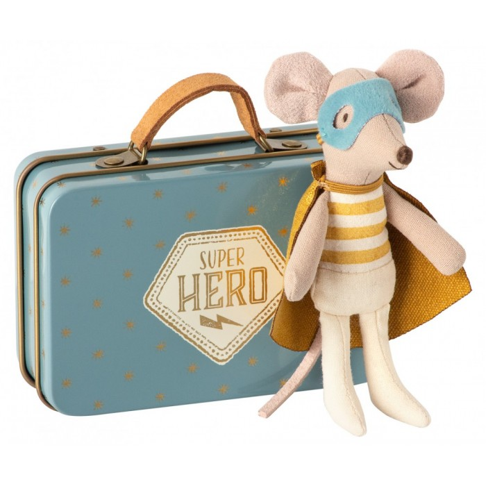 Jucarie textila - SUPERHERO MOUSE - LITTLE BROTHER IN SUITCASE - Maileg