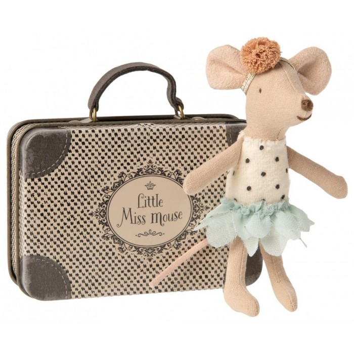 Jucarie textila - LITTLE MISS MOUSE IN SUITCASE - LITTLE SISTER - Maileg