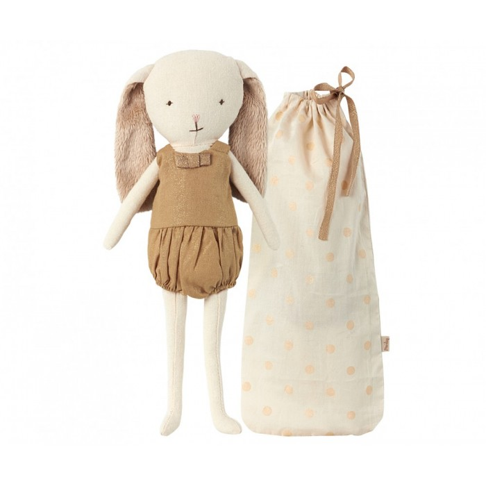 Jucarie textila - BUNNY BELL IN BAG, GOLD - Maileg