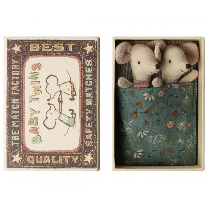 Jucarie textila - TWINS IN MATCHBOX - BABY MICE - Maileg