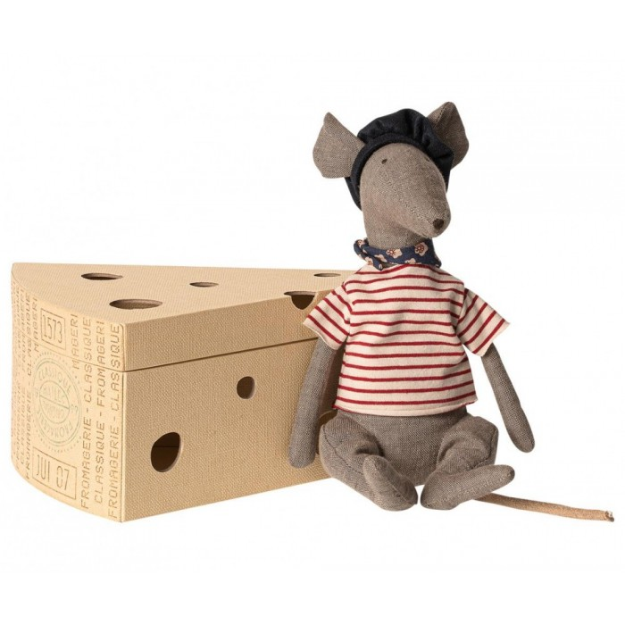 Jucarie textila - RAT IN CHEESE BOX - GREY - Maileg