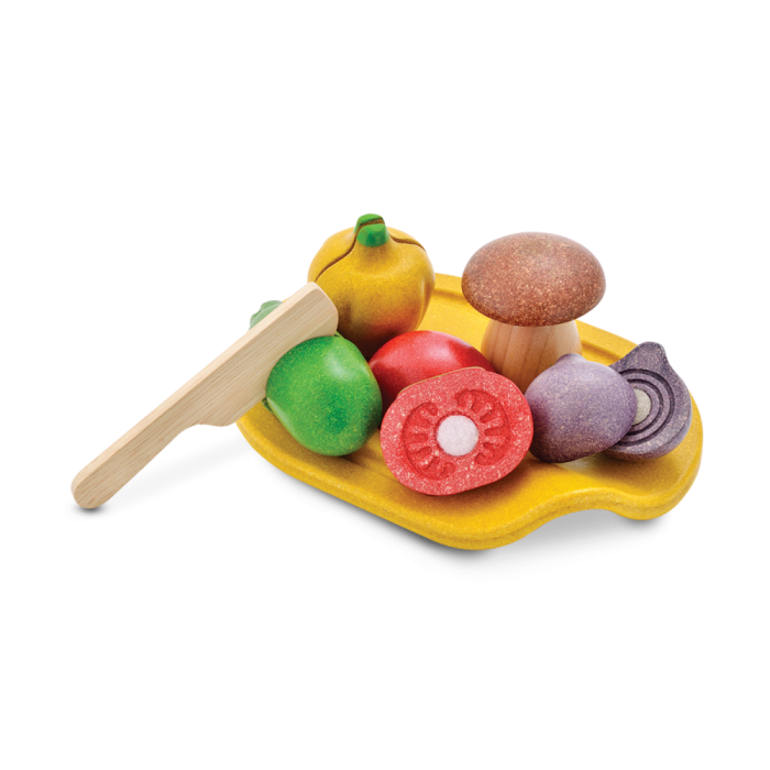 Set de legume din lemn pentru feliat - Plan Toys