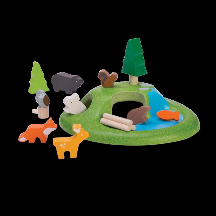 Jucarie din lemn de rol - Set cu animalute de padure - Plan Toys