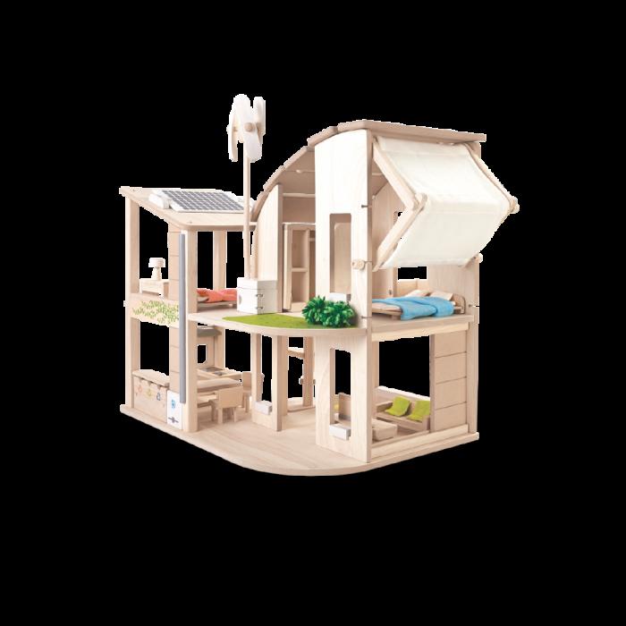 Casuta de papusi din lemn ecologica - cu mobilier inclus - Plan Toys