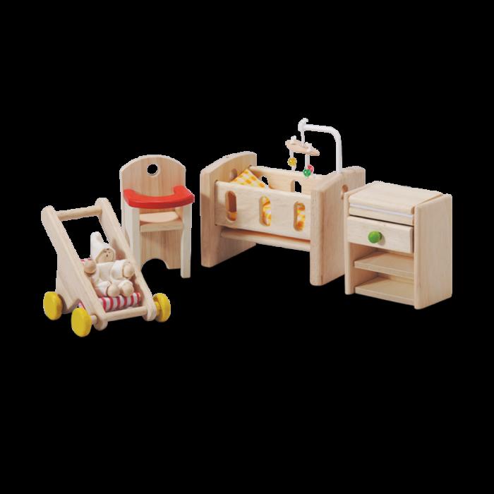 Accesorii din lemn pentru casute de papusi - Camera bebelusului - Plan Toys