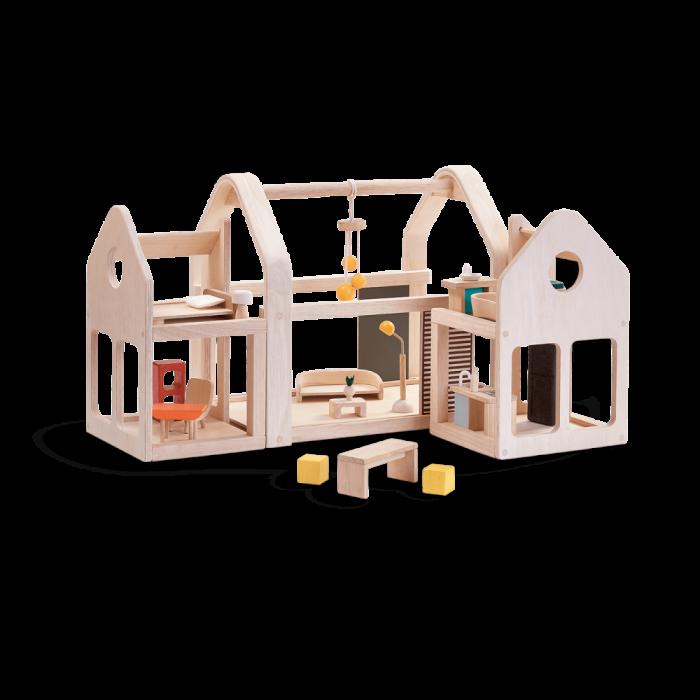 Casuta din lemn pentru papusi portabila - cu mobilier inclus - Plan Toys