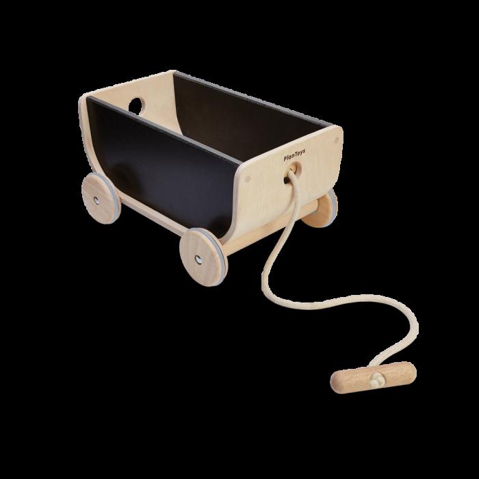 Carucior din lemn cu depozitare - Negru- Plan Toys