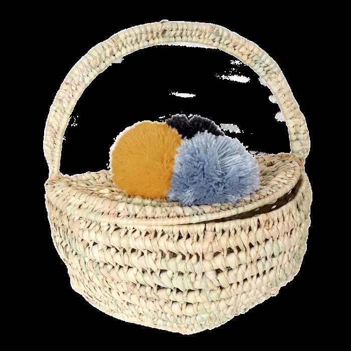Cos decorativ din frunze de palmier - albastru - KIKADU TRULY ORGANIC