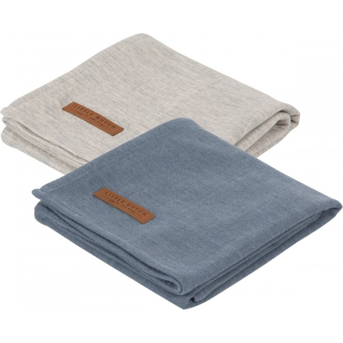 Muselina din bumbac - set 2 bucati – Little Dutch - Pure Blue/Grey