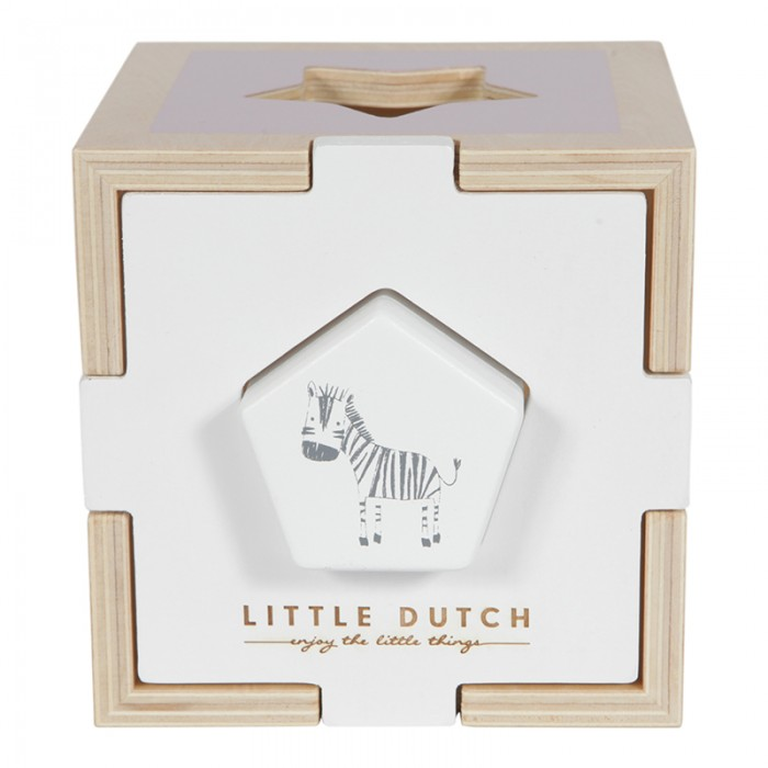 Jucarie din lemn sortator forme ZOO - pink - Little Dutch